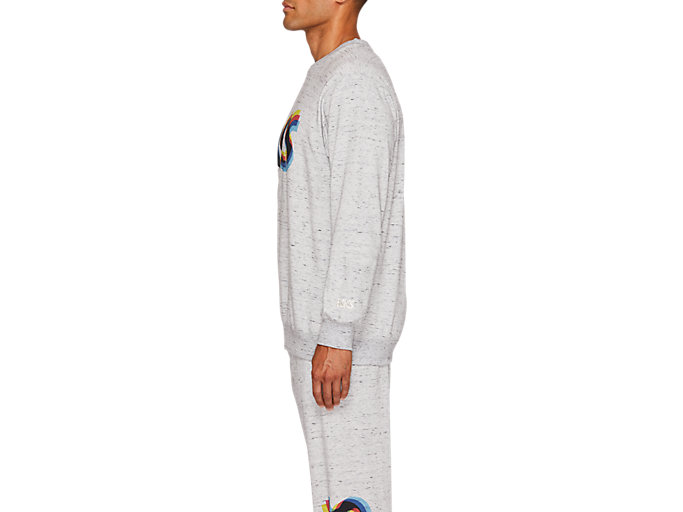 Side view of FT BL GRAPHIC LS CREW, PIEDMONT GREY HEATHER