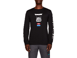 Front Top view of TF M GRAPHIC LS TEE, PERFORMANCE BLACK