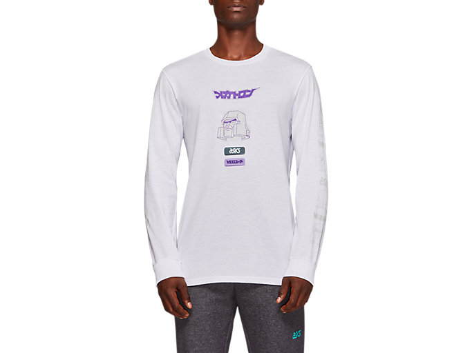 Front Top view of TF M GRAPHIC LS TEE, REAL WHITE