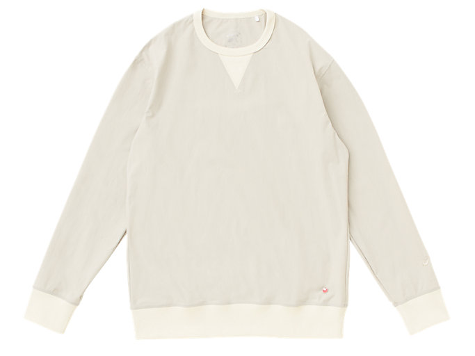 Front Top view of MJ STRETCH WOVEN LS TOP, PUTTY