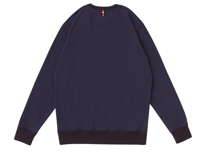 Back view of MJ STRETCH WOVEN LS TOP, PEACOAT