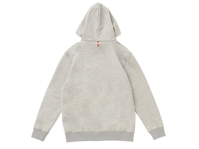Back view of MJ KNIT HOODY PULLOVER, PIEDMONT GREY HEATHER