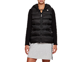 Front Top view of W'S Hooded Down Vest, PERFORMANCE BLACK