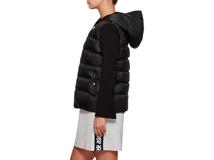Side view of W'S Hooded Down Vest, PERFORMANCE BLACK