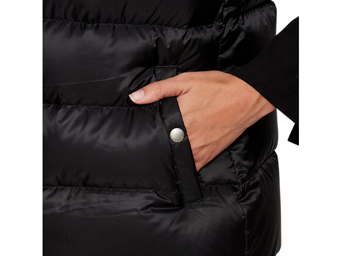 Alternative image view of W'S Hooded Down Vest, PERFORMANCE BLACK
