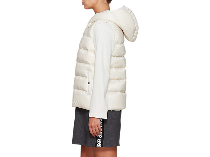 Side view of W'S Hooded Down Vest, CREAM