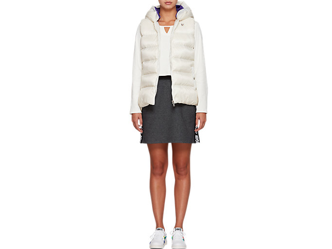 Front Top view of W'S Hooded Down Vest, CREAM