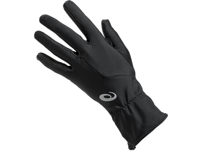 Front Top view of W RUNNING GLOVES, PERFORMANCE BLACK