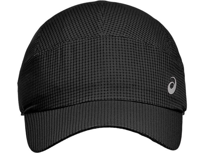 Front Top view of LIGHTWEIGHT  RUNNING CAP, PERFORMANCE BLACK