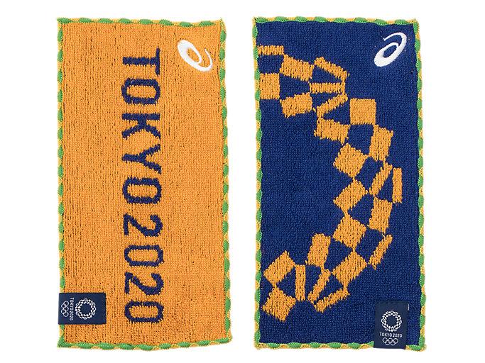 Front Top view of 2Pミニタオル(東京2020オリンピックエンブレム), EMネイビー×イエロー