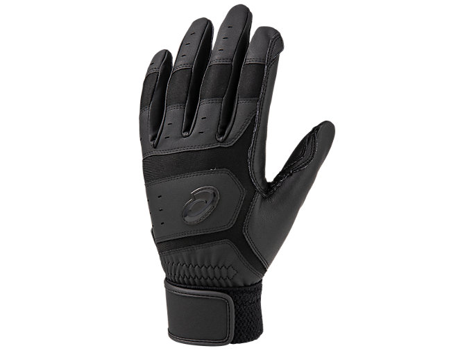 Front Top view of バッティング・ノック兼用手袋, ブラック×ブラック
