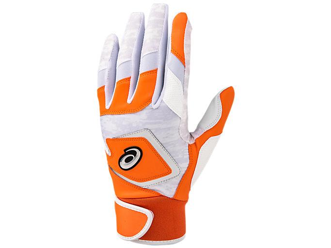 Front Top view of バッティング用カラー手袋, オレンジ×シルバー
