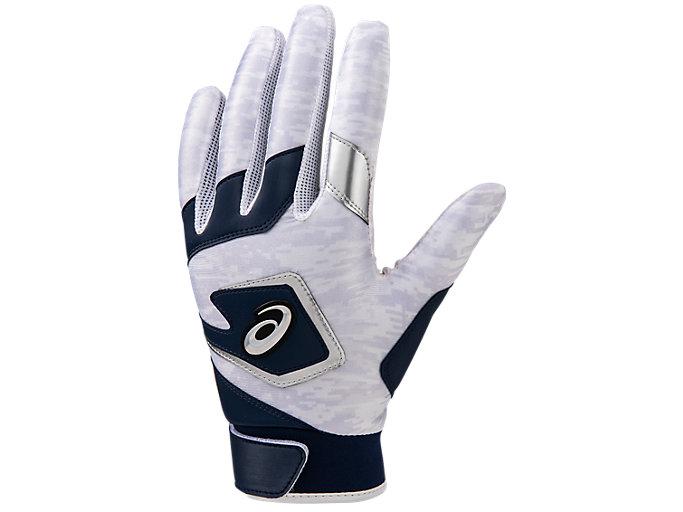 Front Top view of 守備用カラー手袋, ネイビー×シルバー