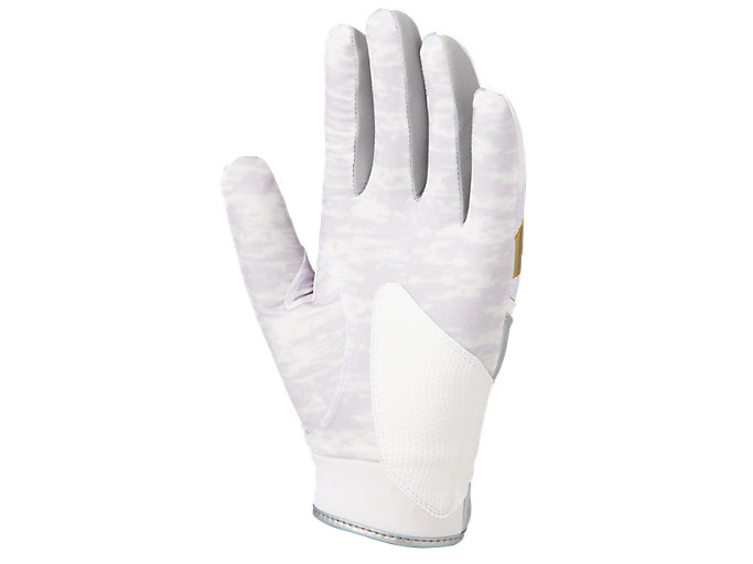 Back view of GOLDSTAGE バッティング用手袋, ホワイト×ゴールド