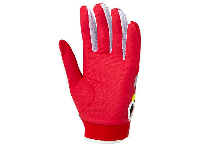 Back view of 守備用カラー手袋, レッド×ホワイト