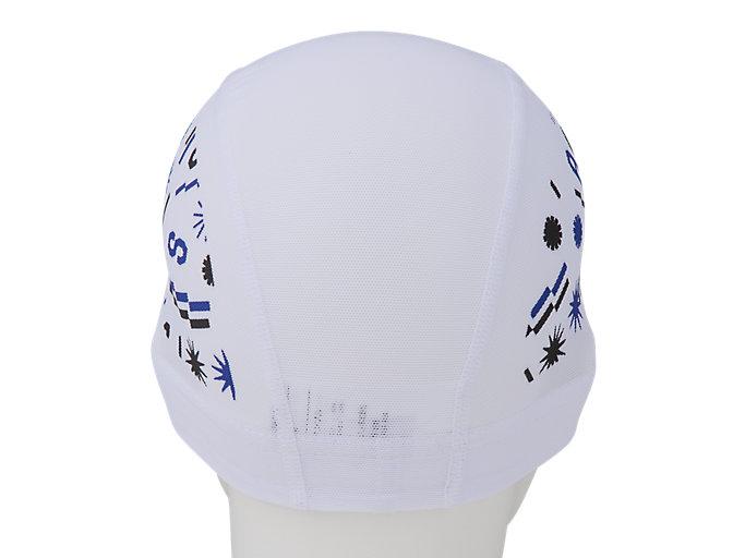Back view of 2色プリントメッシュキャップ, ブリリアントホワイト×アシックスブルー