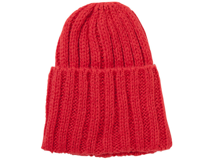 Front Top view of BEANIE, FIERY RED