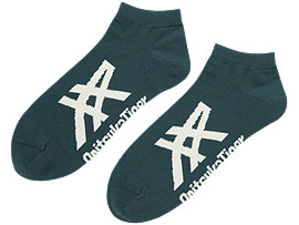 Front Top view of ANKLE SOCKS, HUNTER GREEN/BIRCH