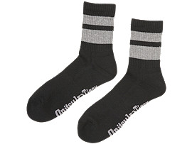 Front Top view of MIDDLE SOCKS, PERFORMANCE BLACK