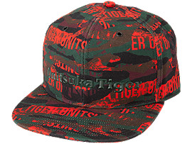 Front Top view of PRINTED CAP, FIERY RED
