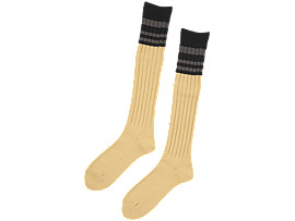 Front Top view of MIDDLE SOCKS, VIBRANT YELLOW/PERFORMANCE BLACK