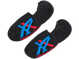 Front Top view of INVISIBLE SOCKS, PERFORMANCE BLACK/ASICS BLUE