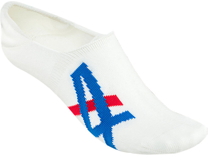 Front Top view of INVISIBLE SOCKS, REAL WHITE/ASICS BLUE