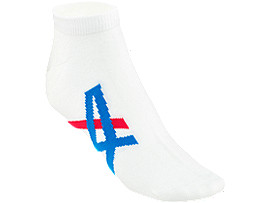 Front Top view of ANKLE SOCKS, REAL WHITE/ASICS BLUE