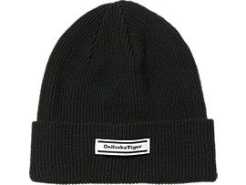 Front Top view of BEANIE, PERFORMANCE BLACK