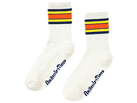 Front Top view of MIDDLE SOCKS, REAL WHITE/TAI-CHI YELLOW