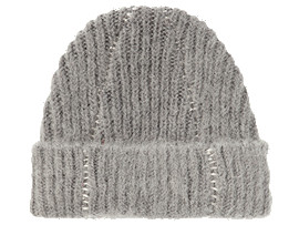Front Top view of BEANIE, MID GREY