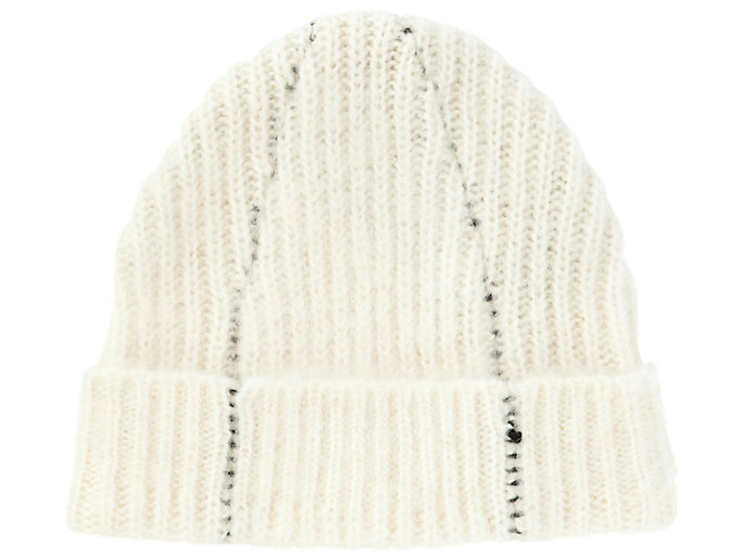 Front Top view of BEANIE, REAL WHITE