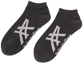 Front Top view of ANKLE SOCK, PERFORMANCE BLACK/FEATHER GREY