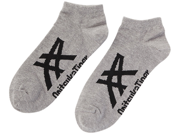 Front Top view of Ankle Sock, FEATHER GREY/PERFORMANCE BLACK