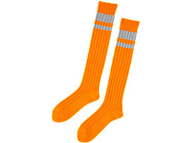 Front Top view of MIDDLE SOCK, SHOCKING ORANGE/FEATHER GREY