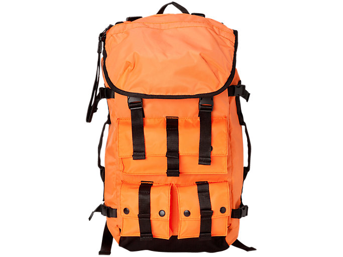 Front Top view of BACK PACK, SHOCKING ORANGE