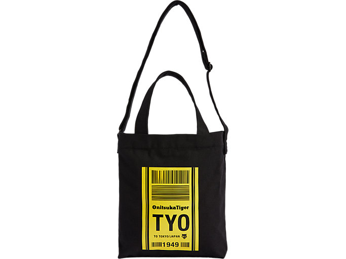 Front Top view of CANVAS SHOULDER BAG, PERFORMANCE BLACK/TAI-CHI YELLOW