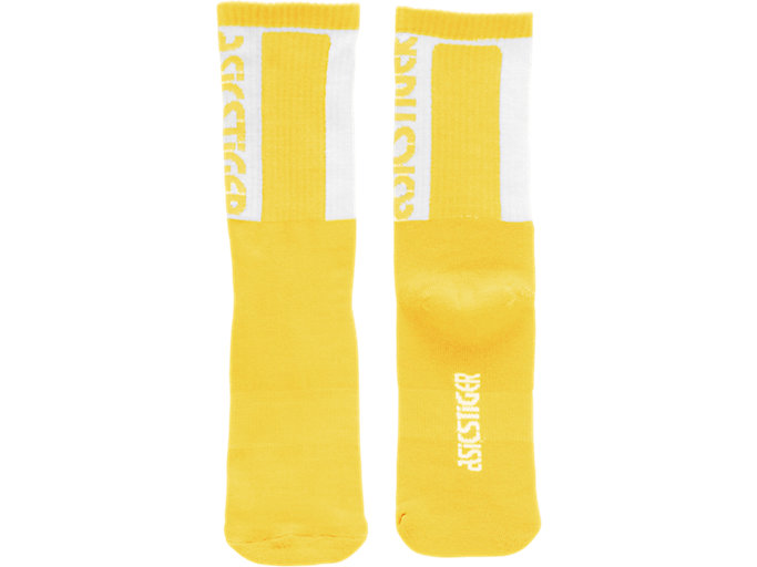 Front Top view of BL Crew Socks, MUSTARD