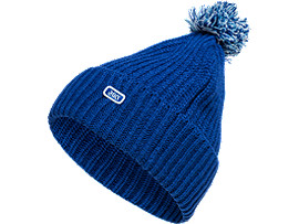 Front Top view of BomBom Beanie, ASICS BLUE