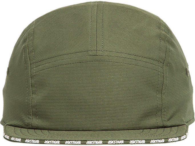 Front Top view of AT 5 PANEL CAP, MANTLE GREEN