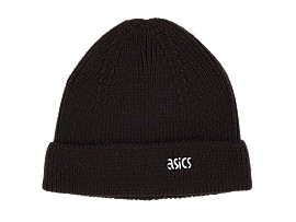 Front Top view of AHQ AT KNIT BEANIE, PERFORMANCE BLACK