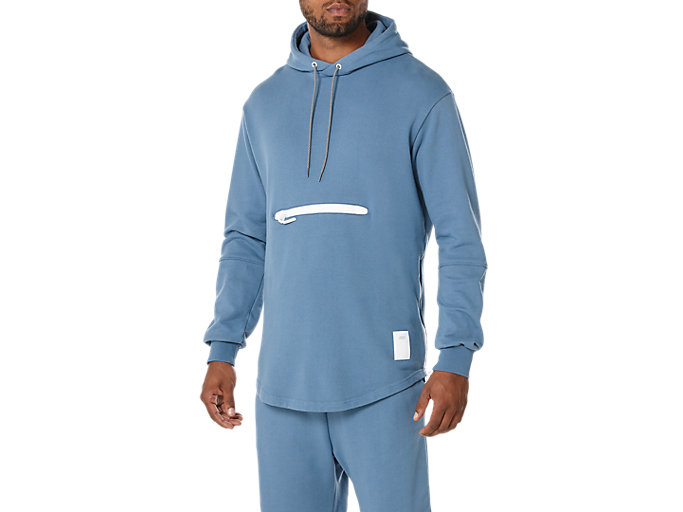Front Top view of PREMIUM FLEECE HOODIE, BLUE