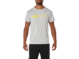 Front Top view of GRAPHIC TEE 3, HEATHER GREY/YELLOW