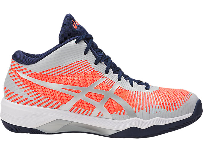 Right side view of VOLLEY ELITE FF MT, FLASH CORAL/GLACIER GREY/INDIGO BLUE