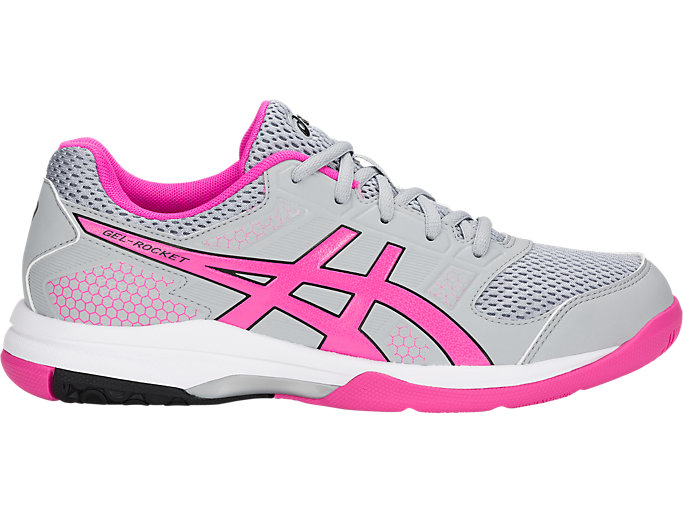 Women's GEL Rocket 8 Mid GreyPink GlowvolleyballASICS Mid GreyPink Glowvolleyball ASICS