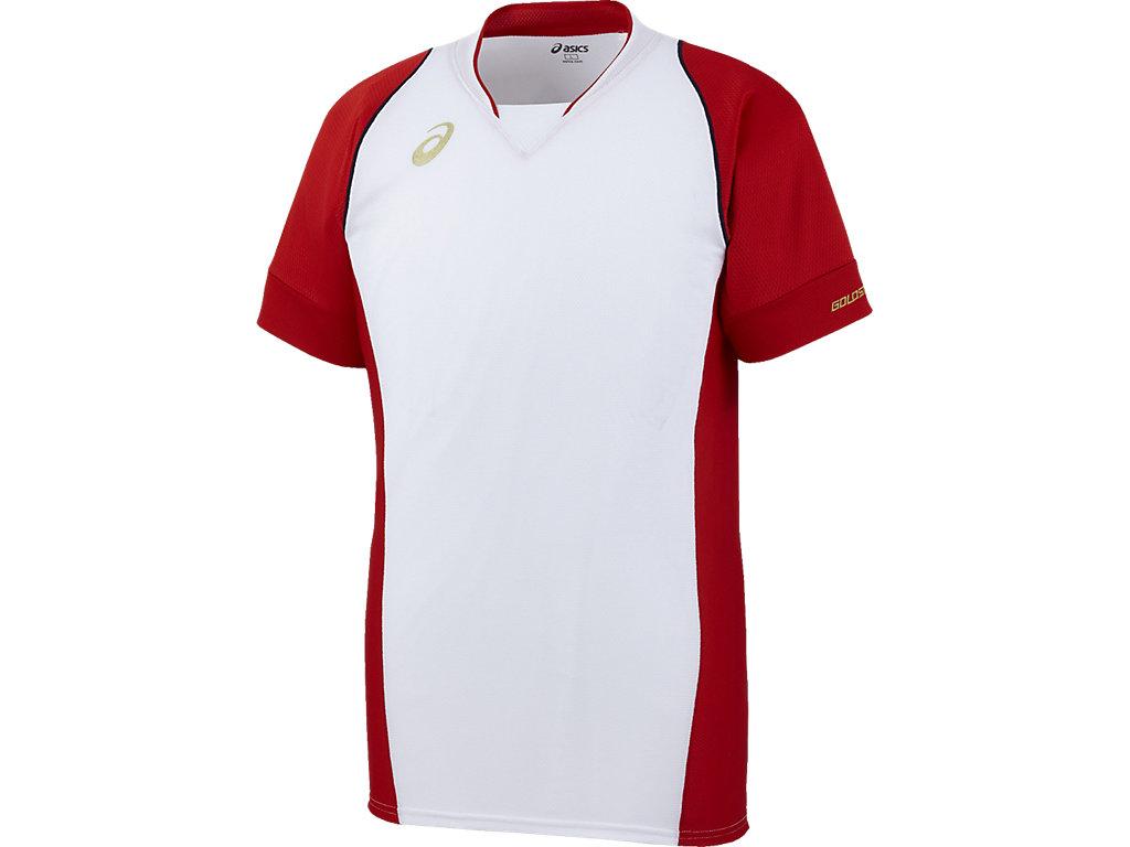 [ゴールドステージ]ブレードシャツ:ホワイト×レッドn肩ステッチカラーnネイビー