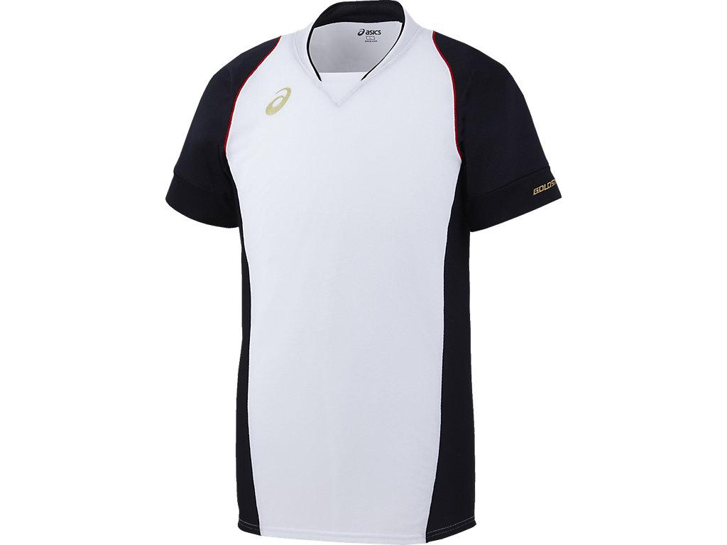 [ゴールドステージ]ブレードシャツ:ホワイト×ネイビーn肩ステッチカラーnレッド