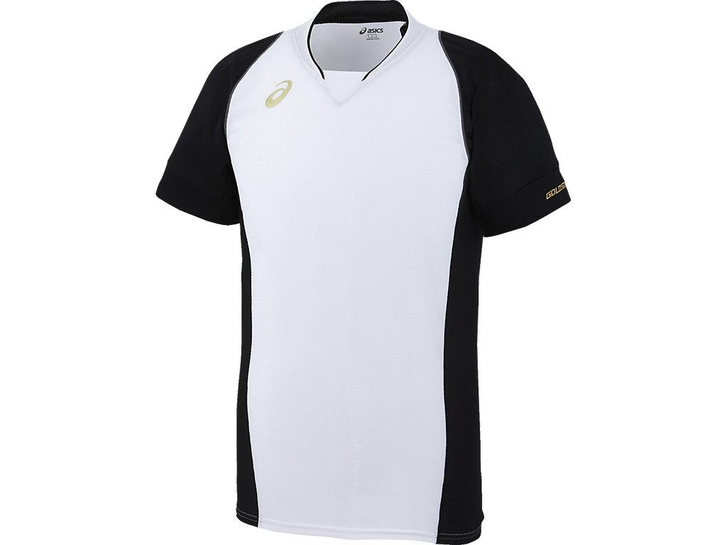 [ゴールドステージ]ブレードシャツ:ホワイト×ブラックn肩ステッチカラーnS/グレー