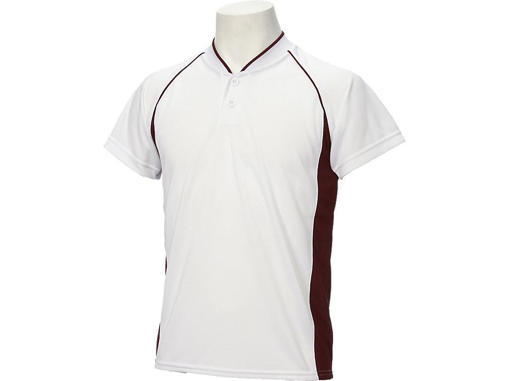 【ASICS/アシックス】 Jr.ベースボールシャツ ホワイトxエンジ キッズ_BAD11J