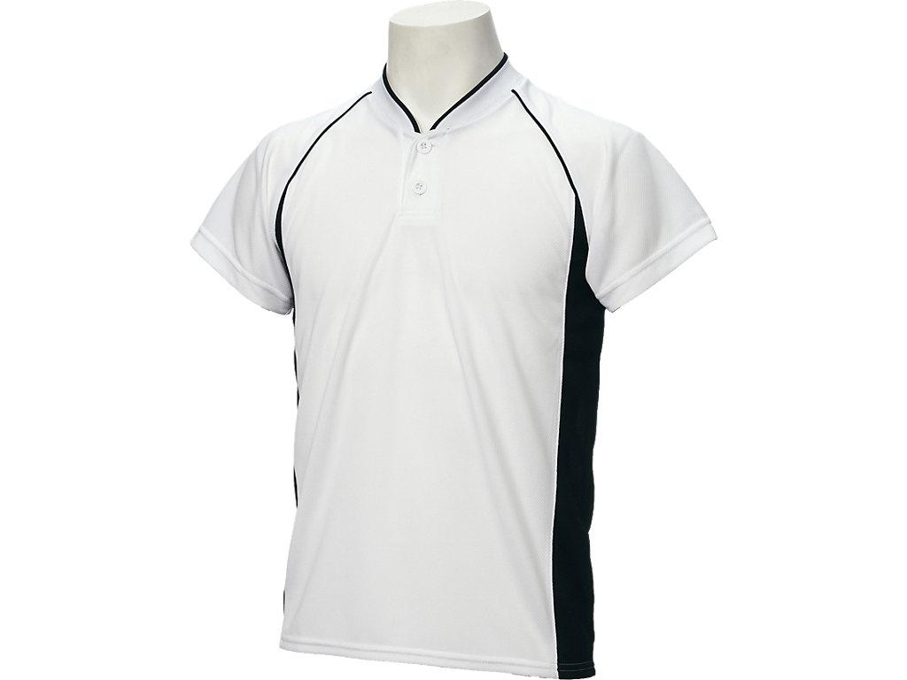【ASICS/アシックス】 Jr.ベースボールシャツ ホワイトxブラック キッズ_BAD11J